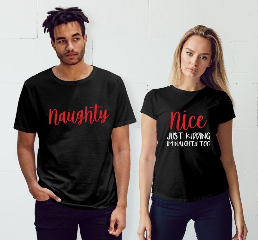Tricouri Cuplu cu Mesaj de Craciun Naughty & Nice