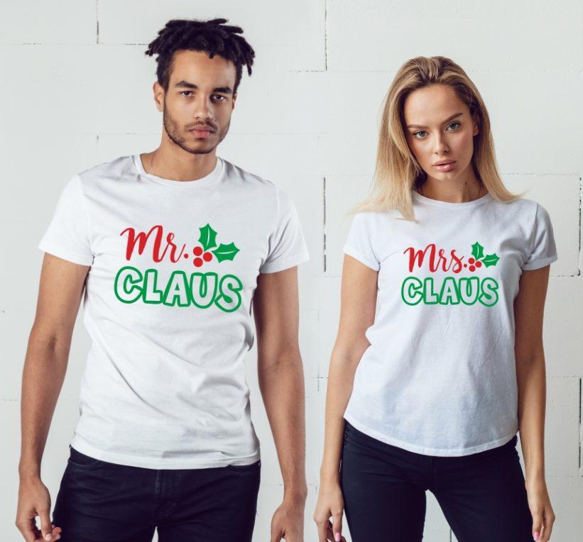 Tricouri Cuplu cu Mesaj Mr. Claus & Mrs. Claus