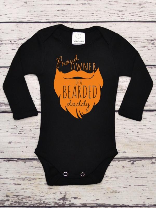 Body Copii Cu Mesaj Proud Owner of a Bearded Daddy Negru