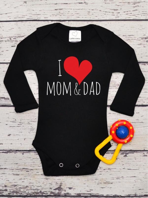 Body Copii cu Mesaj I Love Mom & Dad Negru