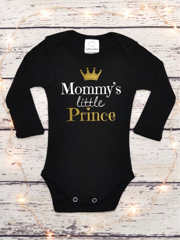 Body Bebelusi cu Mesaj Mommy's Little Prince Negru