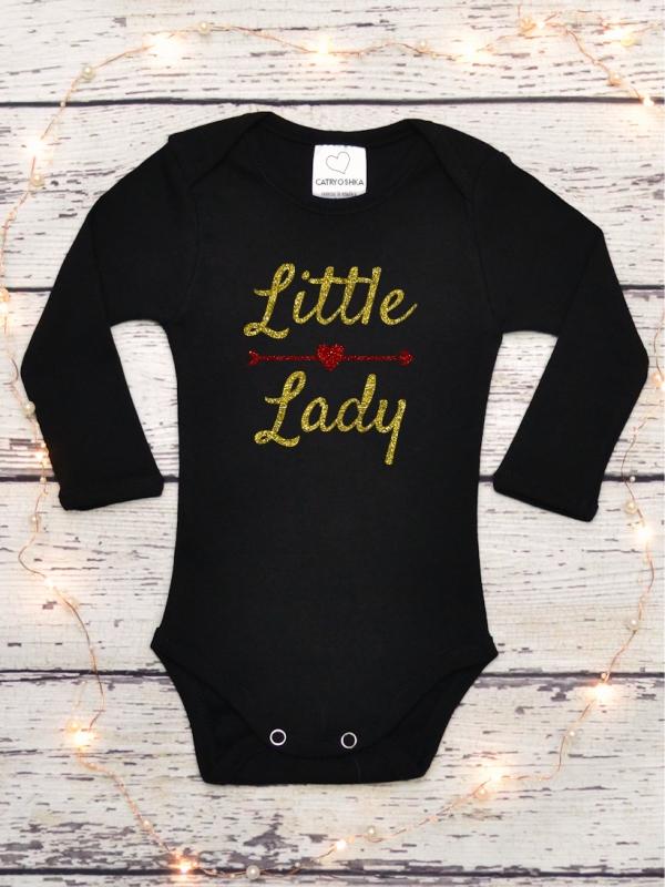 Body Fetite cu Mesaj Little Lady Glitter