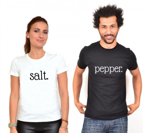 Tricouri Cuplu Salt & Pepper Alb Negru