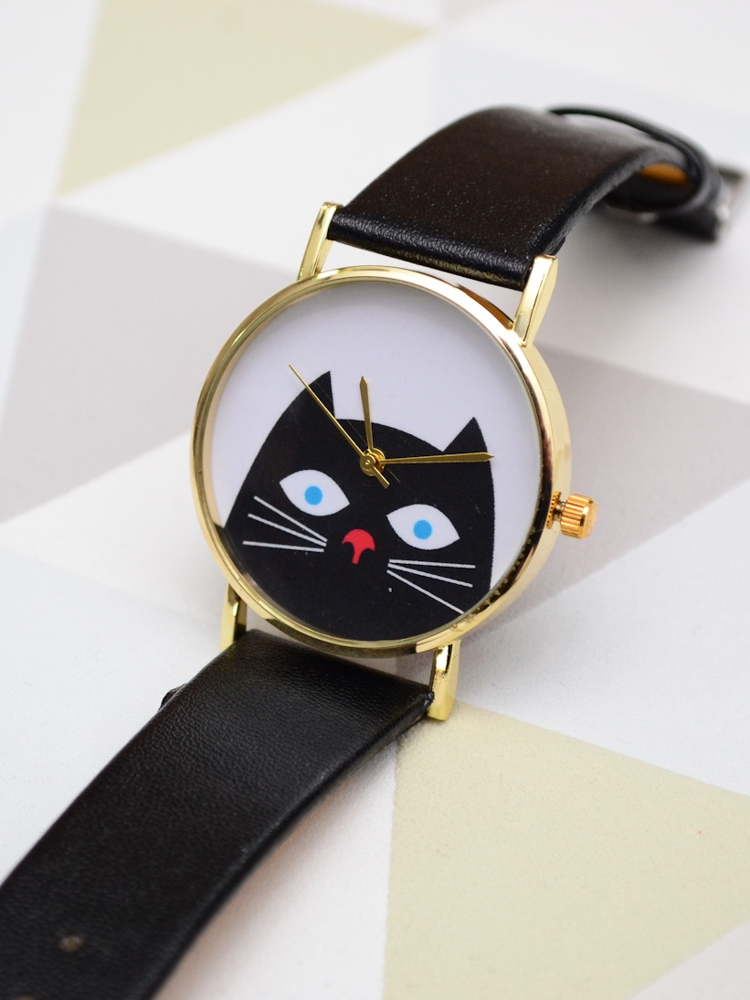 Ceas cu Pisica Negru