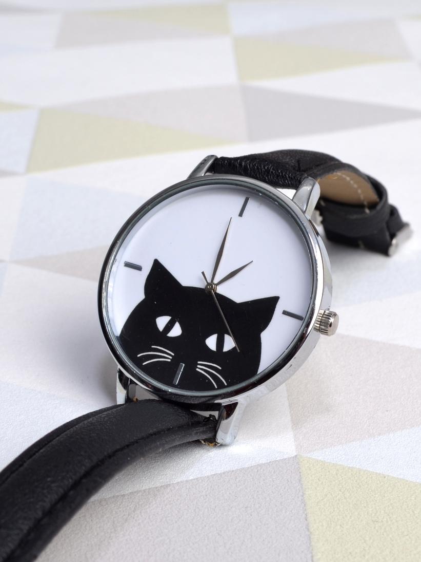 Ceas cu Pisici Negru