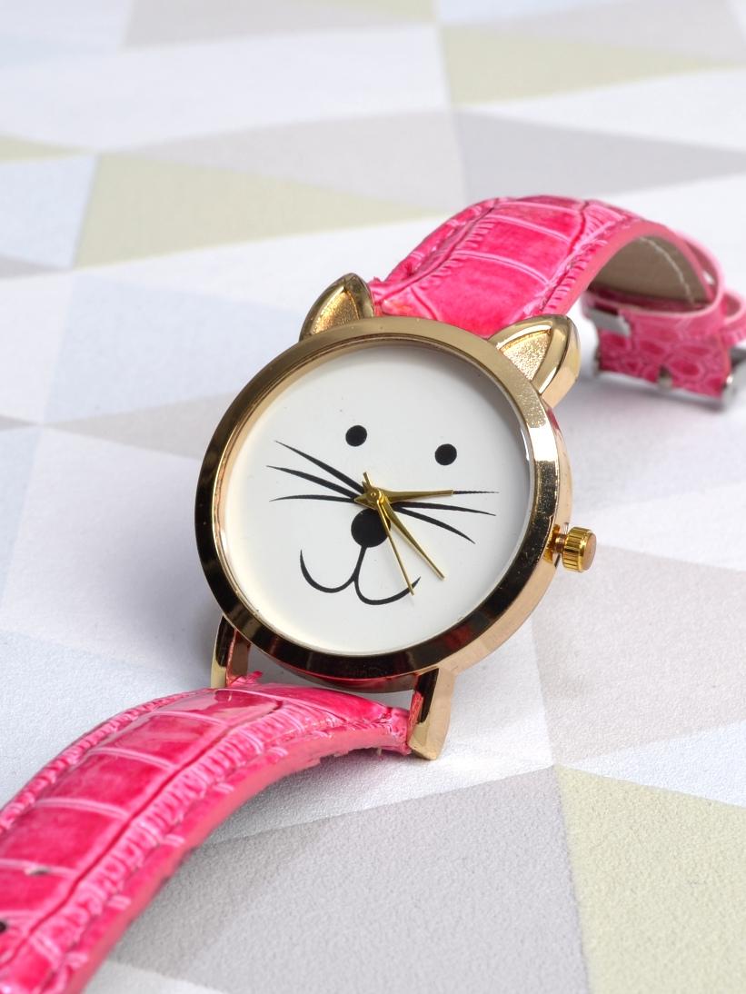 Ceas cu Pisica Roz