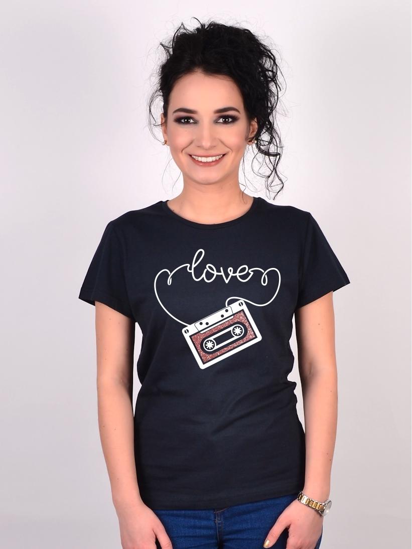Tricou Negru Caseta Love Sale
