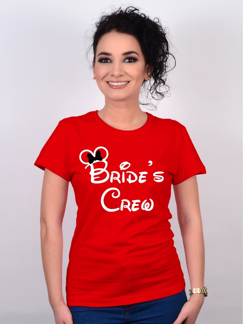 Tricou Burlacite Bride's Crew Rosu