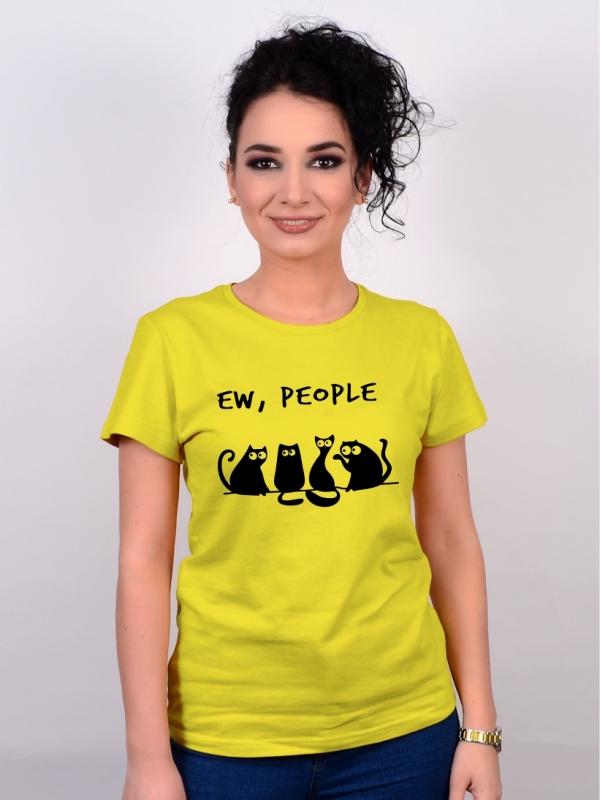 Tricou Cu Pisici Ew, People Galben