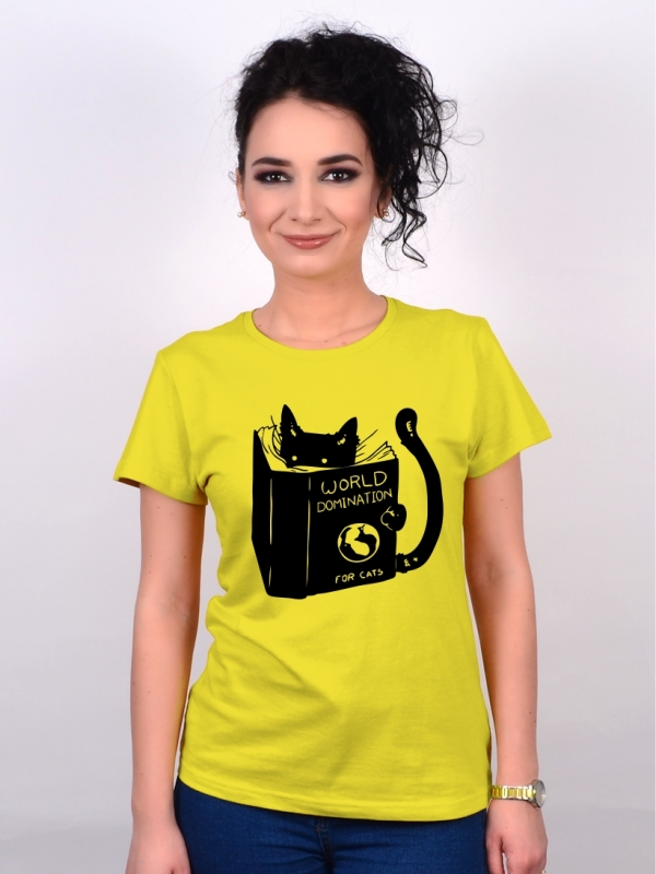 Tricou Galben World Domination For Cats