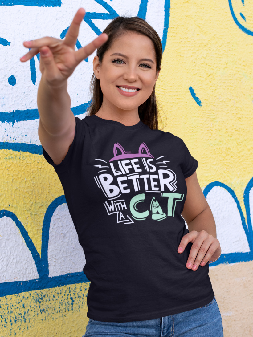 Tricou cu Pisici Life is Better With A Cat