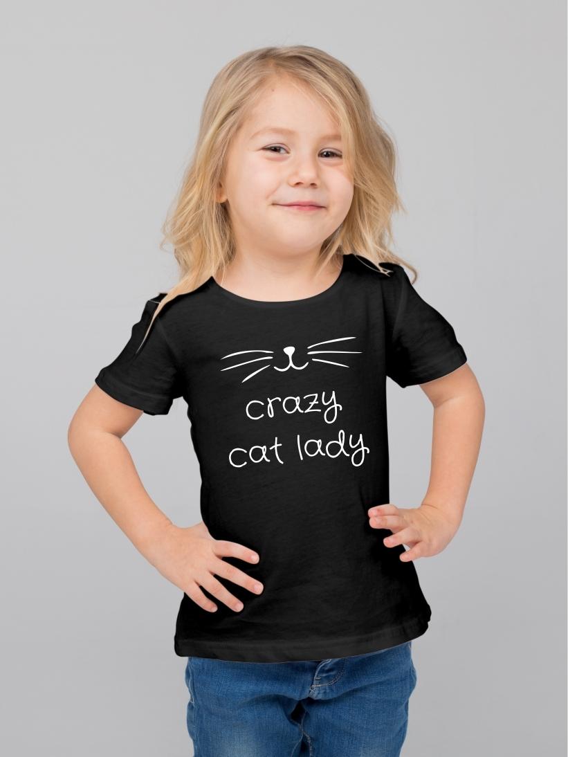 Tricou Copii cu Mesaj Crazy Cat Lady