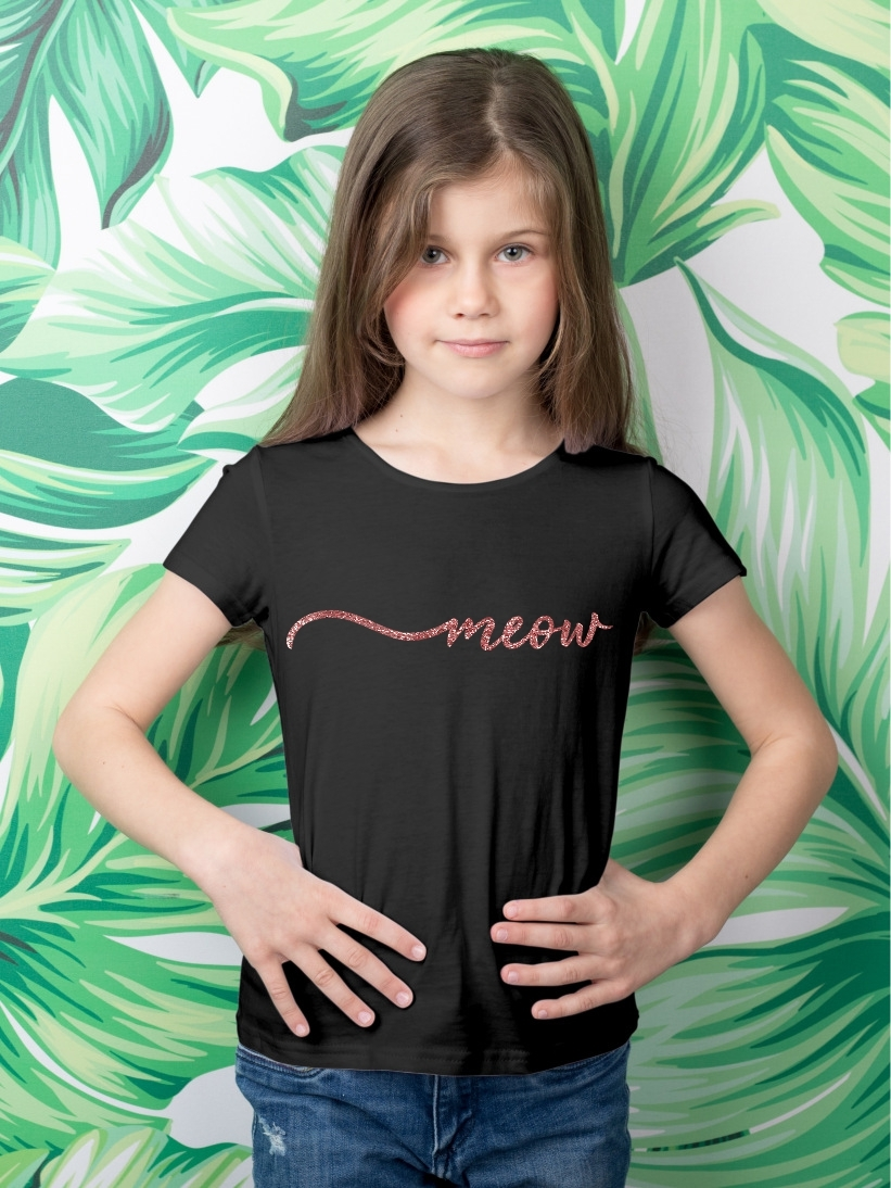 Tricou Copii Meow Glitter Rose Gold