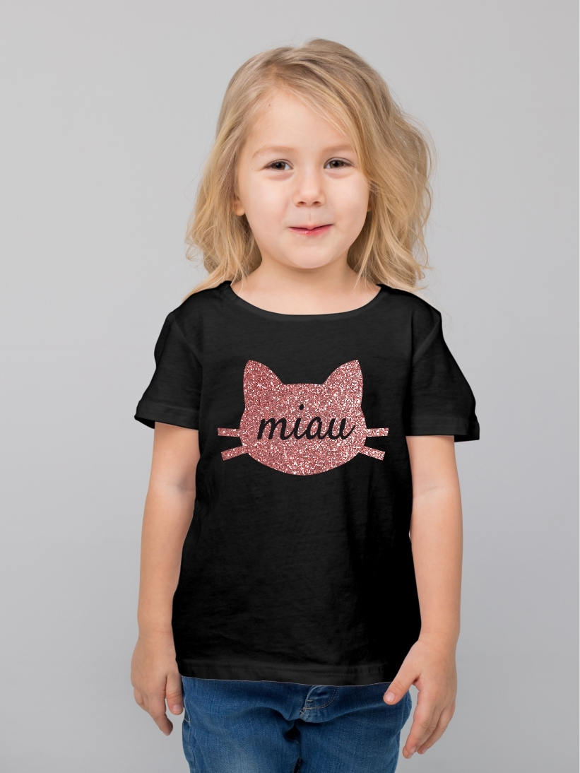 Tricou Copii Miau Glitter Rose Gold