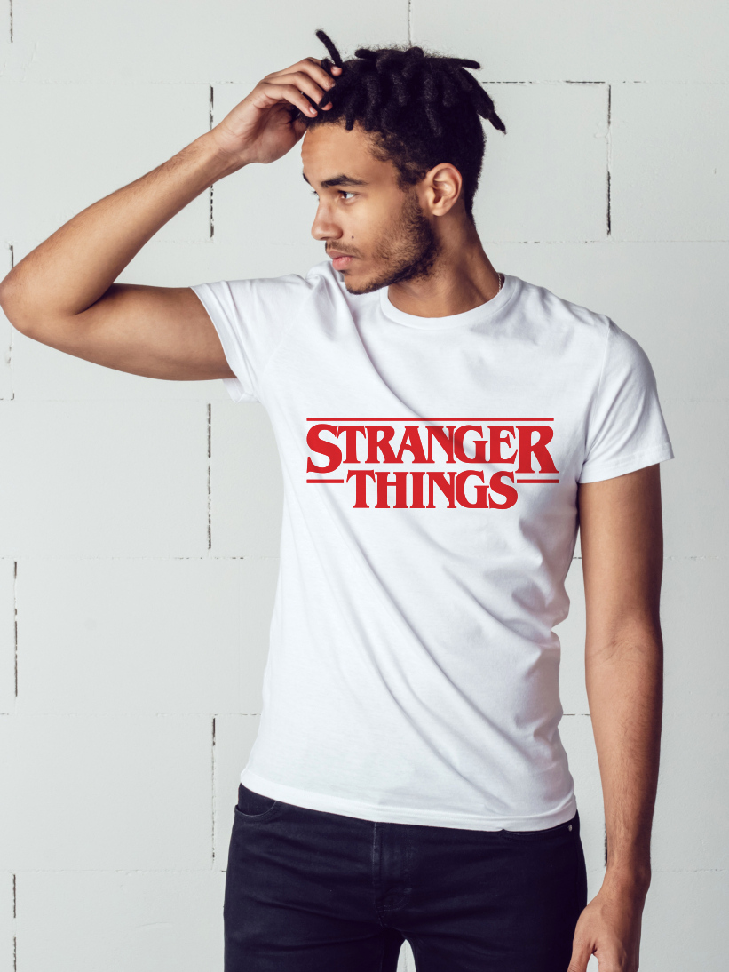 Tricou Barbati Stranger Things Alb