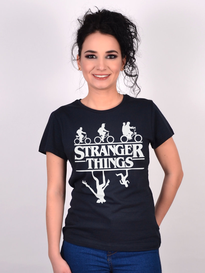 Tricou Stranger Things - Upside Down Negru