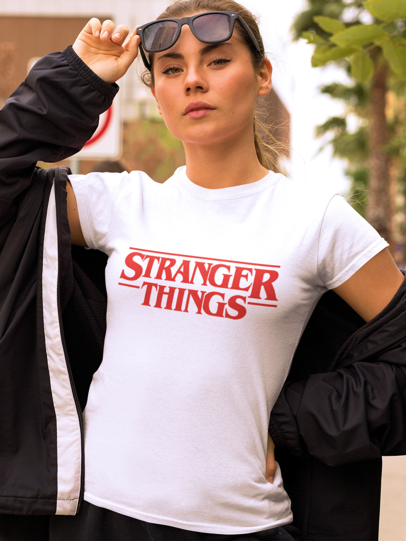 Tricou Stranger Things Alb