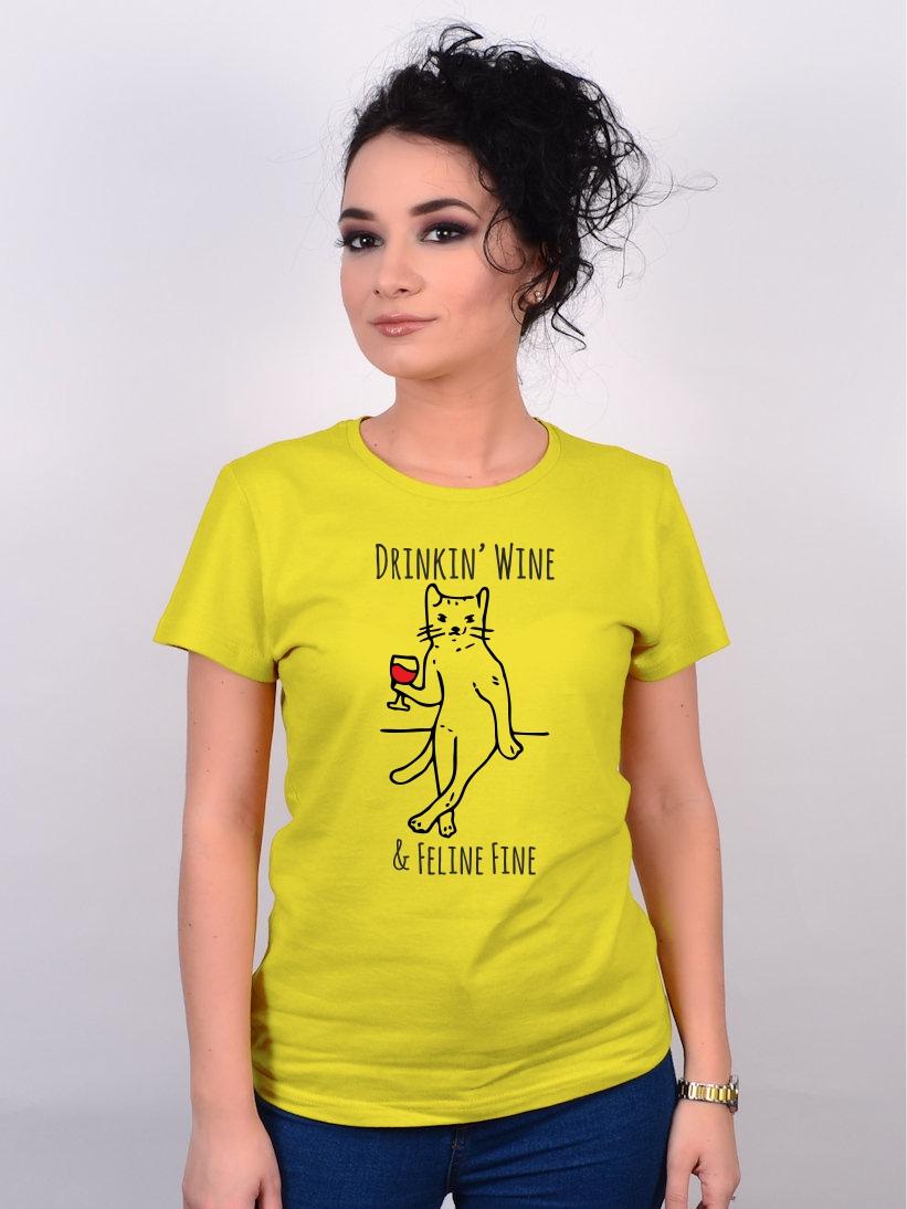 Tricou Pisica Drinkin' Wine & Feline Fine