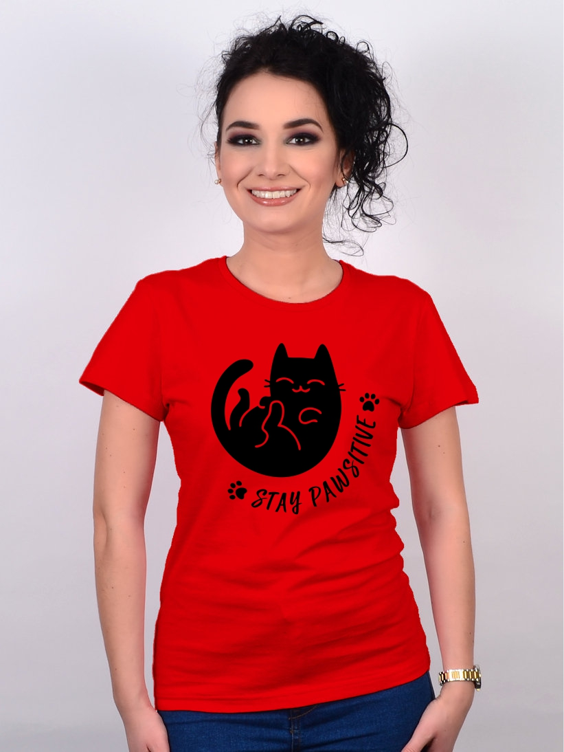 Tricou Rosu Stay Pawsitive