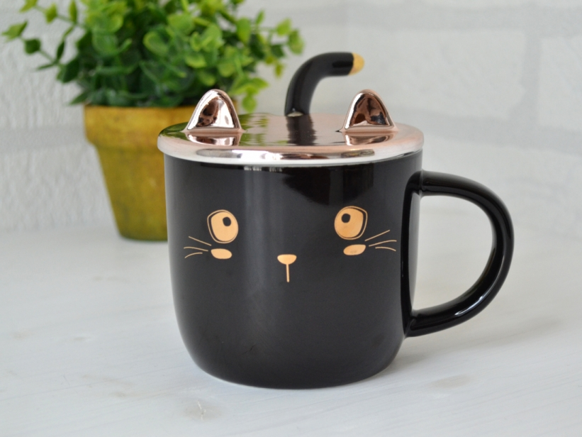 Ceasca Pisica cu Capac si Lingurita Neagra