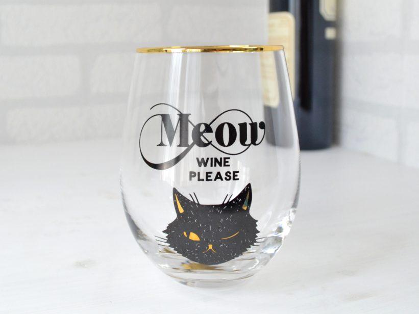 Pahar cu Pisica cu Mesaj Meow Wine Please