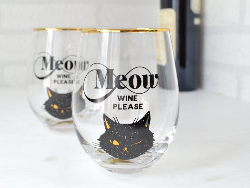 Set Pahare cu Pisica Meow Wine Please