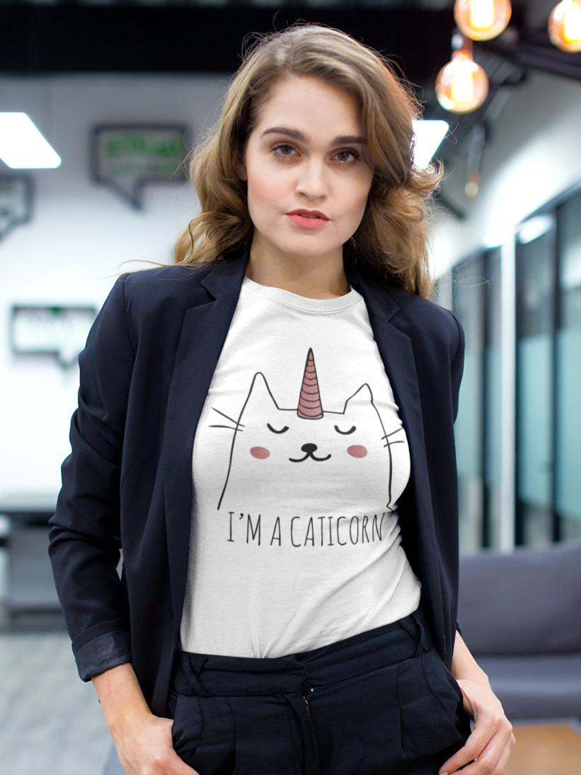Tricou Alb Pisica I'm a Caticorn