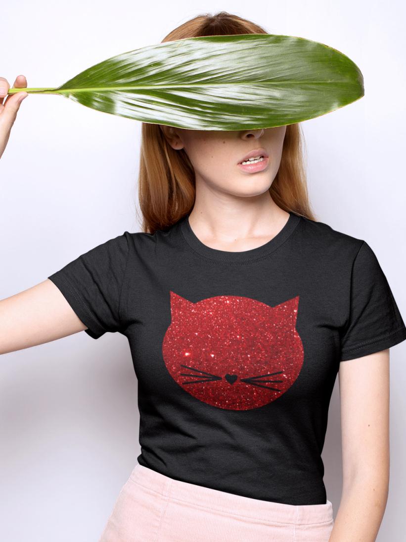 Tricou Pisica Glitter Rosu