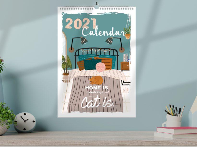 """Calendar cu Pisici 2021 Ilustratii """"Pisica de Casa"""""""
