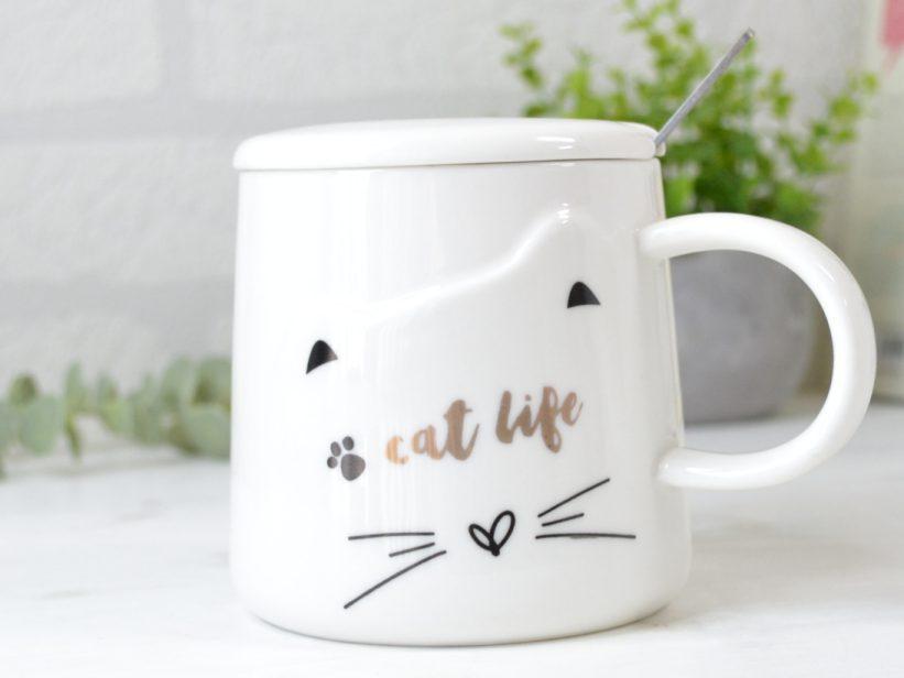 Cana Alba cu Capac si Lingurita Cat Life