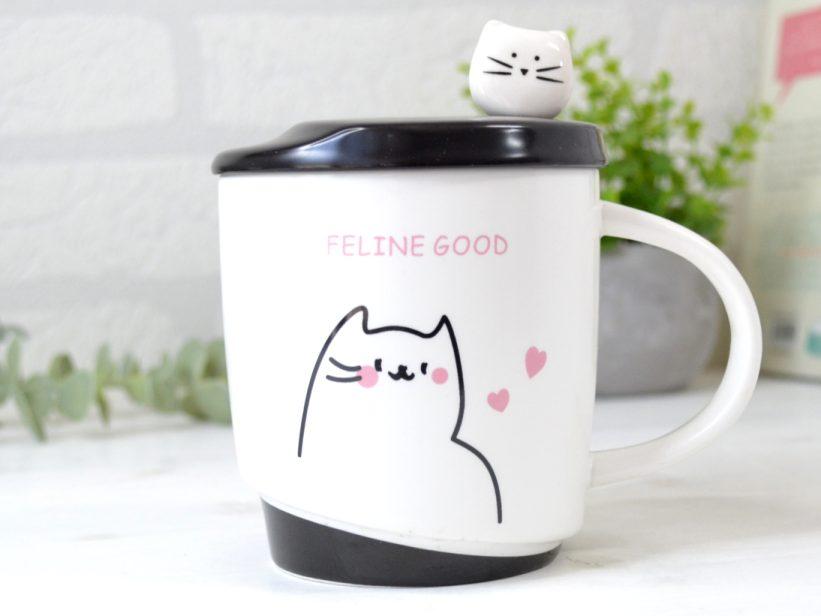 Cana cu Capac si Lingurita Feline Good