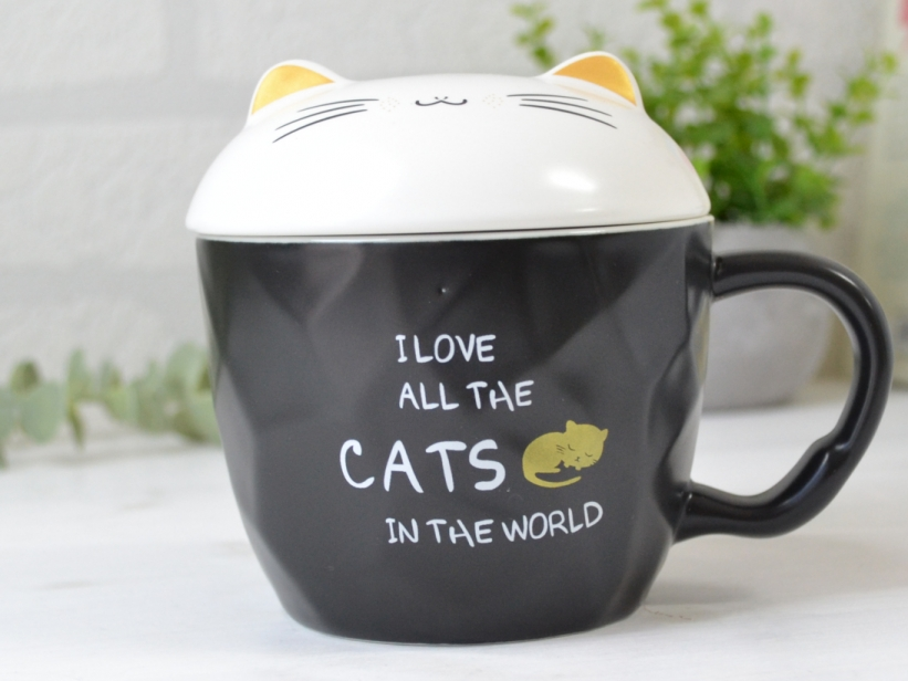 Cana cu Capac cu Urechi de Pisica I Love All the Cats in the World