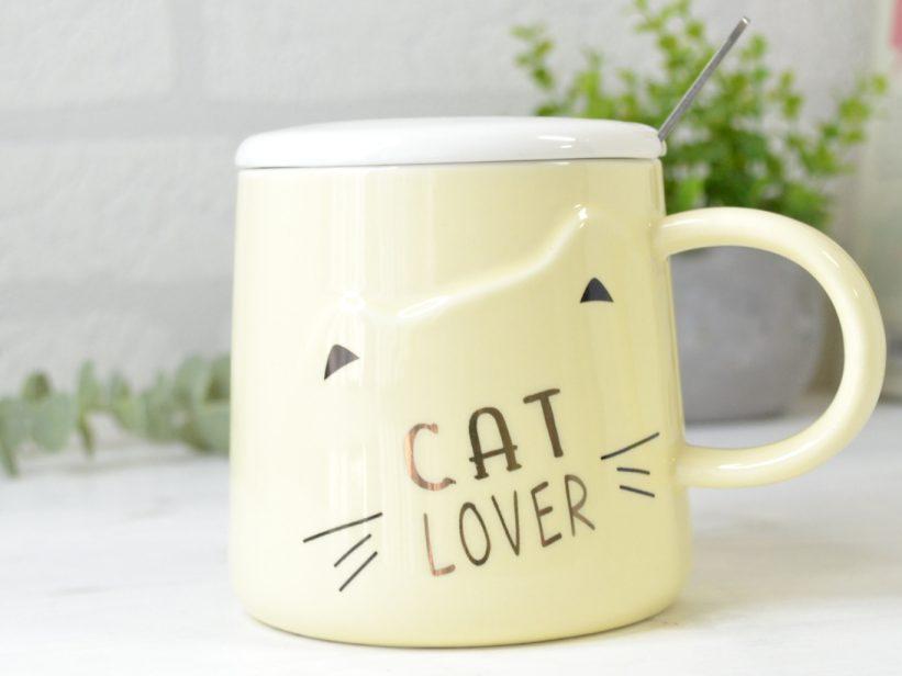Cana Galbena cu Capac si Lingurita Cat Lover