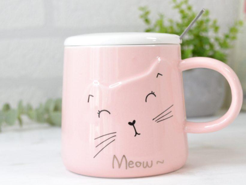 Cana Roz cu Capac si Lingurita Meow