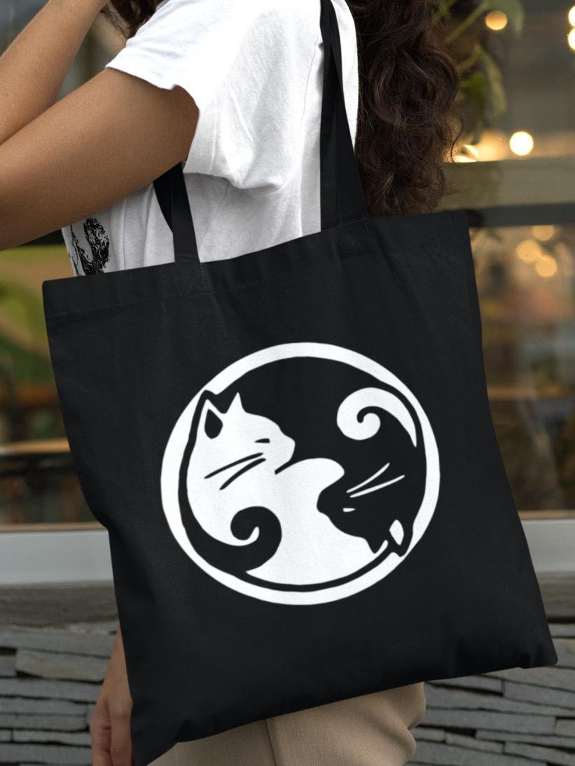 Geanta Neagra Bumbac Pisici Yin & Yang