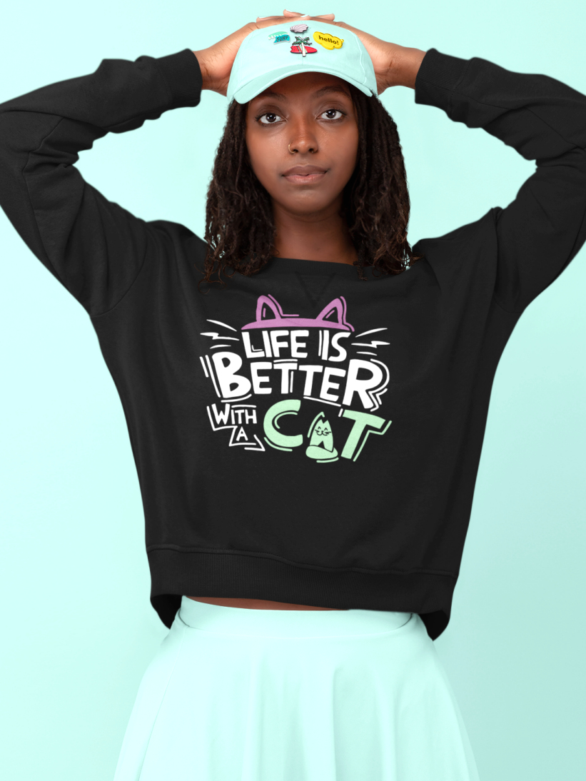 Sweatshirt cu Pisici Life is Better with a CAT