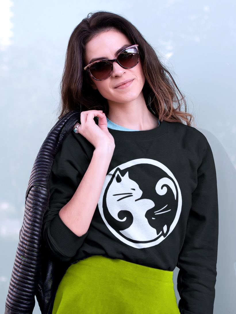 Sweatshirt cu Pisici Yin & Yang