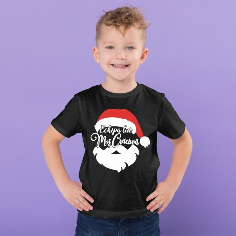 Tricou Copii Cu Mesaj Echipa lui Mos Craciun