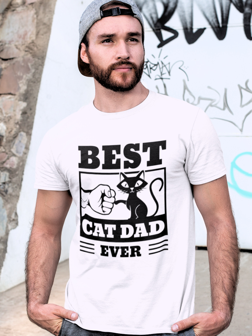 Tricou Best Cat Dad Ever Alb