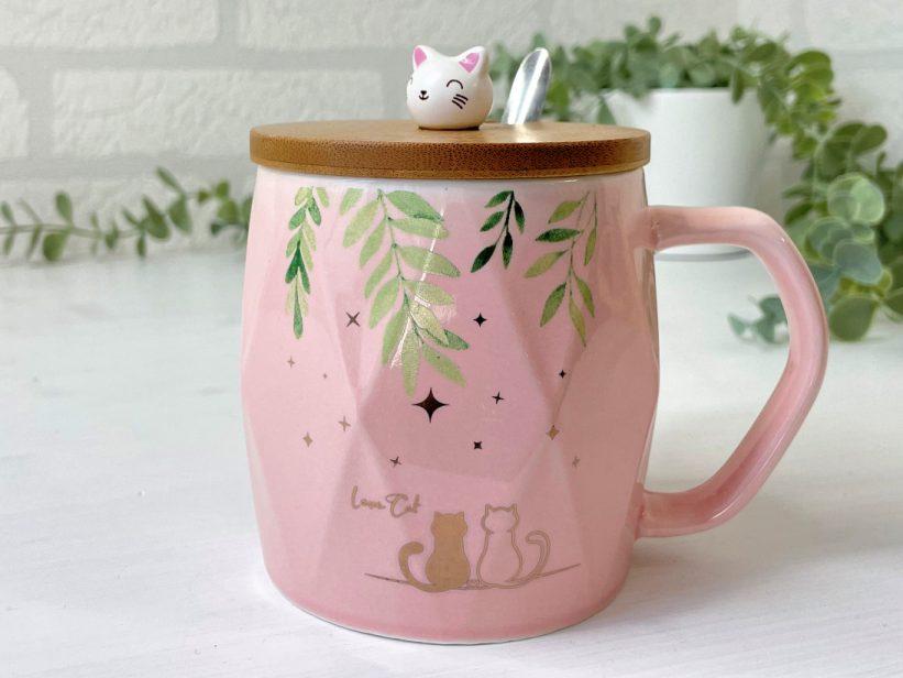 Cana Roz cu Pisici si Capac din Bambus